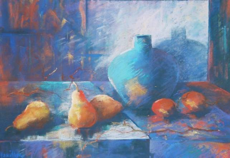 Blue Jug and Pears