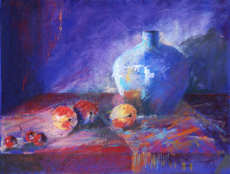 Peaches and Blue Jug